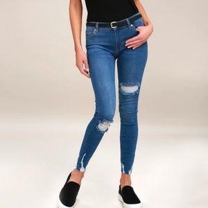 Free People Shark Bite Distressed Skinny Jeans New